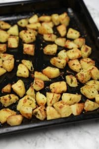 Roasted in a black baking tray.