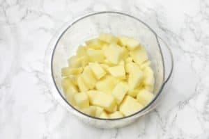 Diced potatoes displayed.
