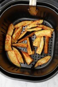 Arranged in air fryer basket.